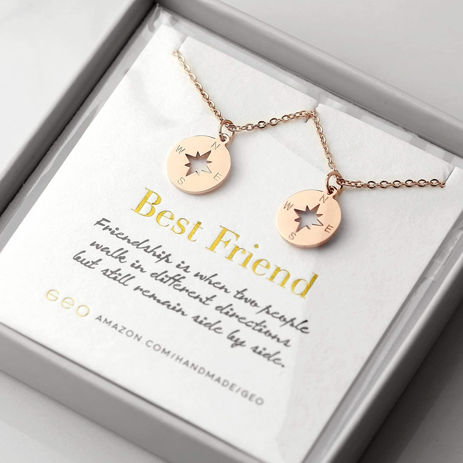 64ae12819e0fc Best Friend Necklaces For Two Rose Gold Compass Necklaces For Women Best  Friend Gifts BFF Necklace For 2 Friendship Necklace