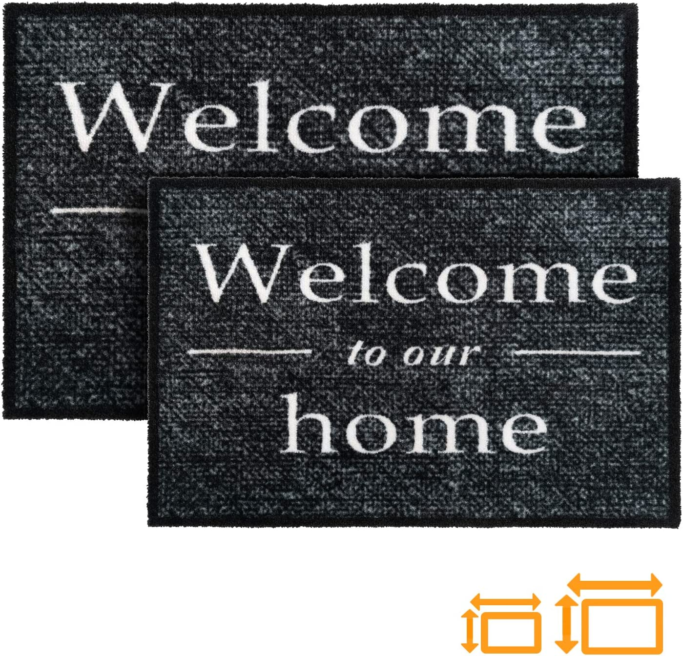 GadHome Welcome Felpudo de Puerta para Interior o Exterior 40x60cm, Gris | Welcome to Our Home Alfombra Antideslizante, Absorbente, Tapete de Puerta