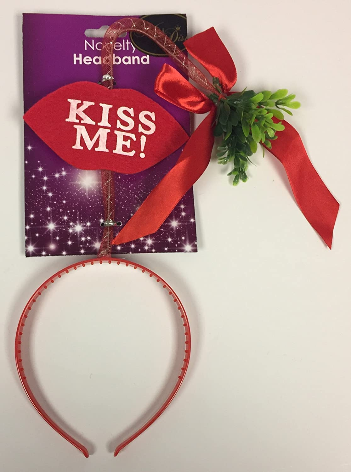 Christmas Santa Novelty MISTLETOE Headband Hair Band Kiss Me Lips