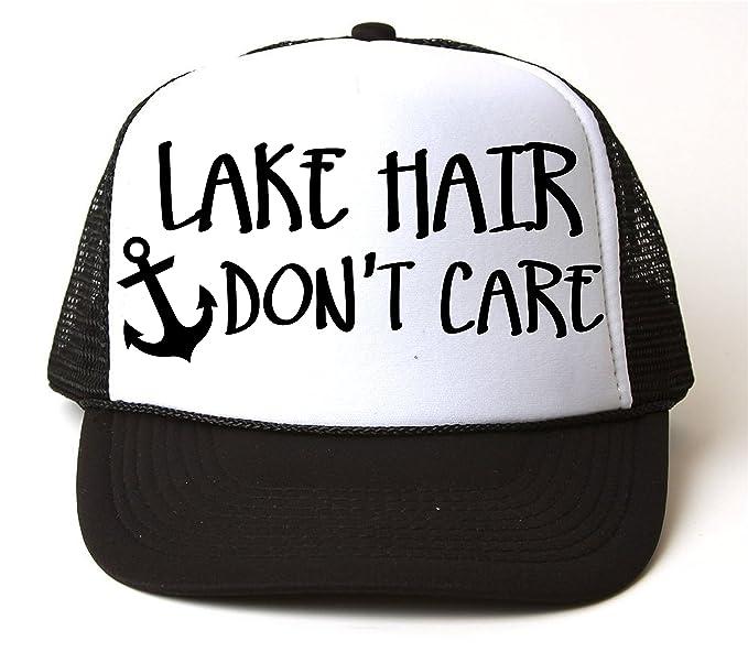 7e9d7fb5c6727 Lake Hair Don't Care Trucker Snapback Baseball Cap Vacation Boating Black  White