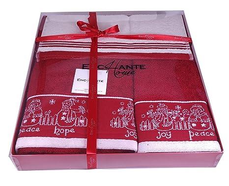 Enchante casa joy-hope-peace Juego de toallas de Navidad, color rojo