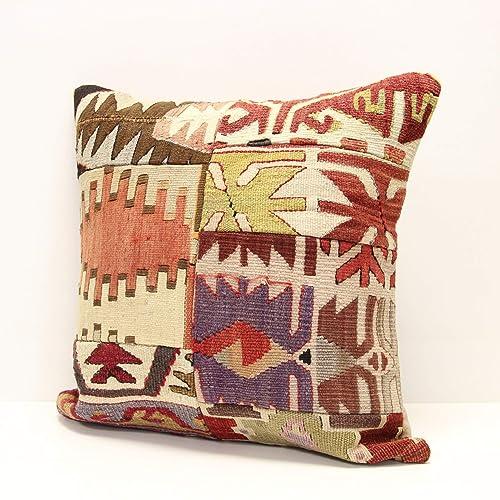 Turkish Wool Pillow Handmade Cushion Two Pillow Cover 18x18 inches  14x20 inches Kilim Pillow Cover