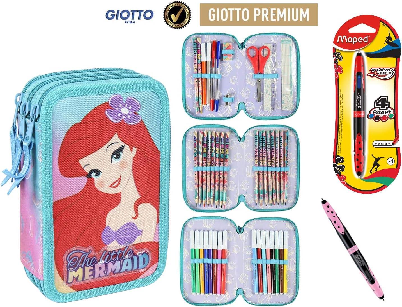 Cerdà Plumier Estuche Artesanía Premium de Cremallera Triple 3 Pisos LA Sirenita - 43 Piezas Contenido Giotto + Regalo: Amazon.es: Juguetes y juegos