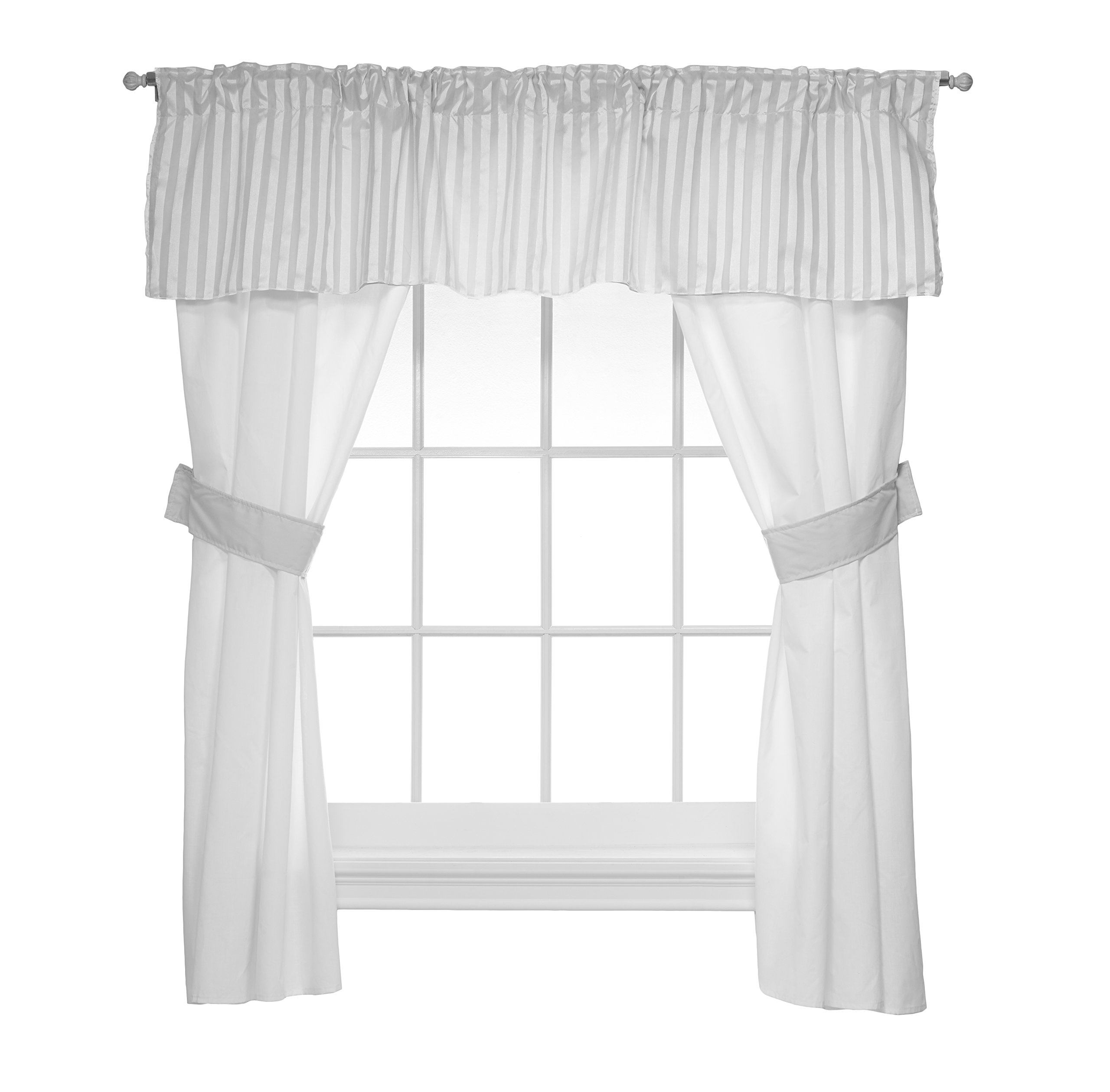 Baby Doll Candyland 5 Piece Window Valance and Curtain Set, Grey by Baby Doll