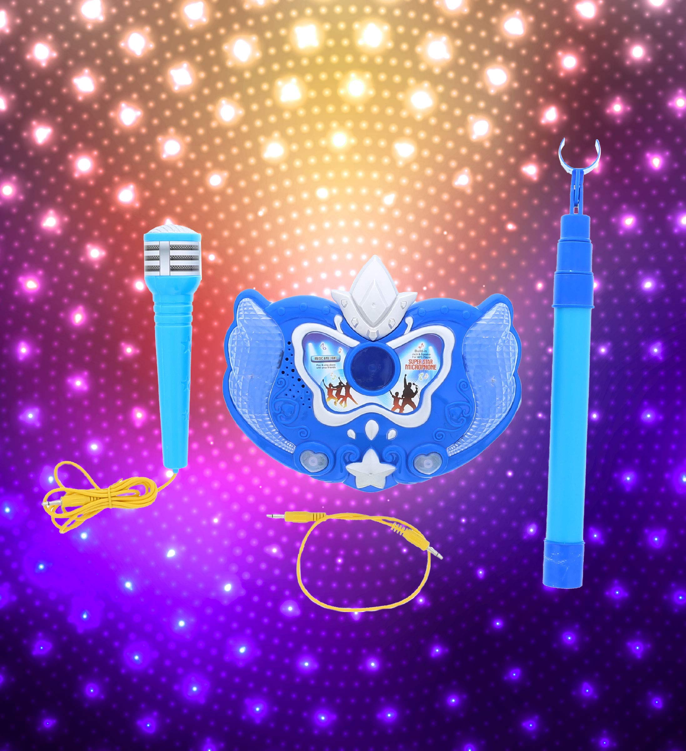 Mozlly Blue Light Up Karaoke Machine with Toy Microphone & Adjustable Stand, Connect to MP3 Player AUX Smart Phones for Solo Singing Parties Sing-A-Along Built in Speaker Flashing Lights for Kids by Mozlly (Image #5)