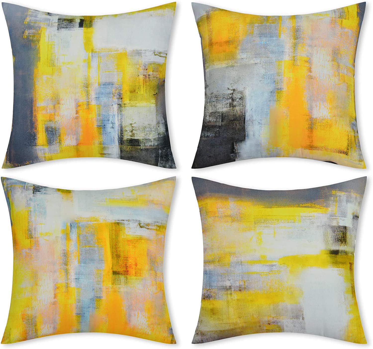 Yastouay Yellow Decorative Throw Pillow Covers Set of 4 Yellow Grey Pillow Cases Modern Accent Home Decor Cushion Covers for Couch Living Room Sofa Bed, 18 x 18 inch