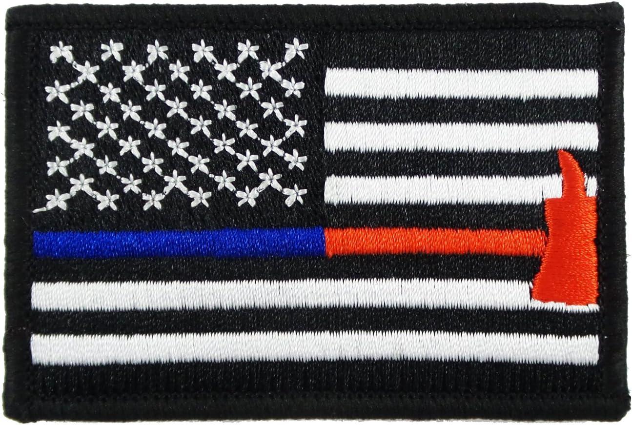 Delgada línea azul y rojo Bandera Policía Bombero Axe Velcro Totalmente bordado etiquetas de la moral Patch: Amazon.es: Juguetes y juegos