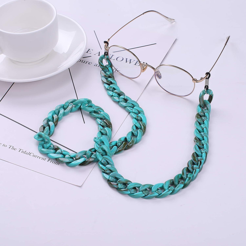 TEAMER Fashion T/ürkis Brillenkette Bohemian Acryl Rough Twist Sunglass Strap f/ür Frauen
