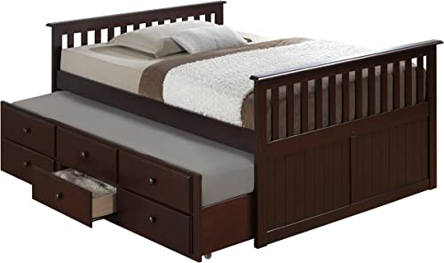 Broyhill Kids Marco Island Full Captain's Bed with Trundle, Espresso Full-Sized Bed with Twin-Sized Trundle, Bunk Bed Alternative, Great for Sleepovers, Underbed Storage Organization