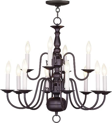 Livex Lighting 5012-07 Williamsburg 12-Light Chandelier, Bronze