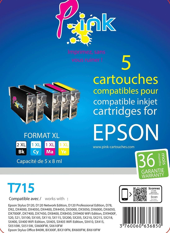 Pink - Paquete de 5 cartuchos de tinta compatible con Impresora ...