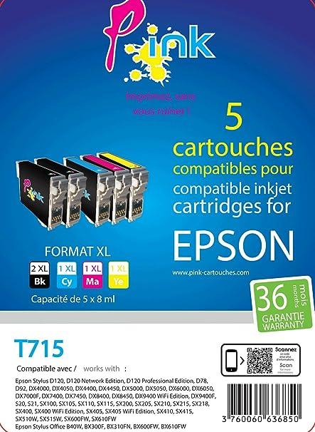 Pink - Paquete de 5 cartuchos de tinta compatible con ...