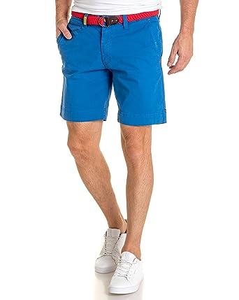 136761f37071 Legenders - Short Chino Bleu ceinure tressée - Couleur  Bleu - Taille  S