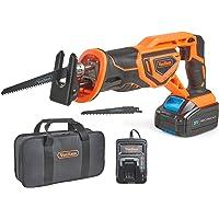 VonHaus Scie Sabre Max 20 V — Vitesse variable, Changement de lames sans outils, 2 lames à bois, Course de 22 mm — Batterie, chargeur et sac à outils inclus