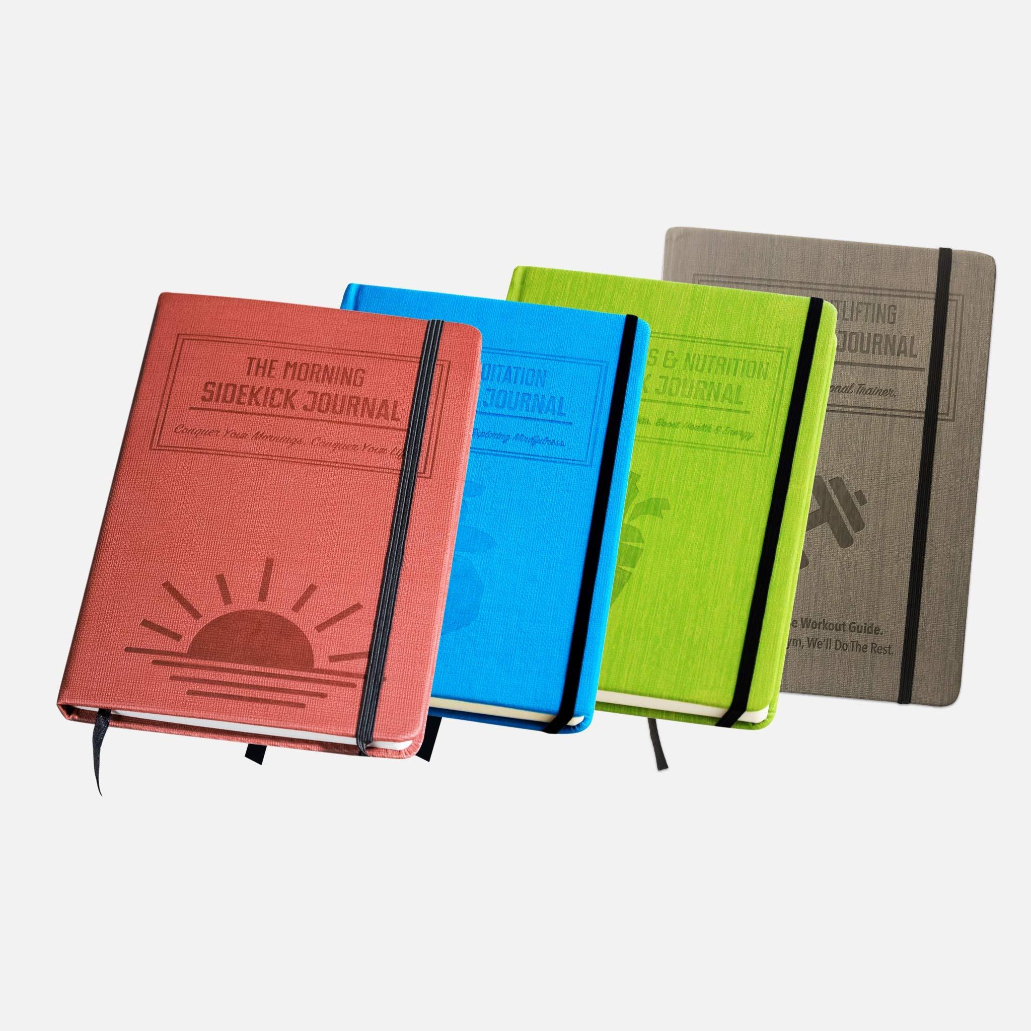 Habit Nest Bundle - 1 Gray Weightlifting Gym Buddy Journal,1x Red Morning Sidekick Journal, 1x Green Fat Loss & Nutrition Sidekick Journal, and 1x Blue Meditation Sidekick Journal by Habit Nest