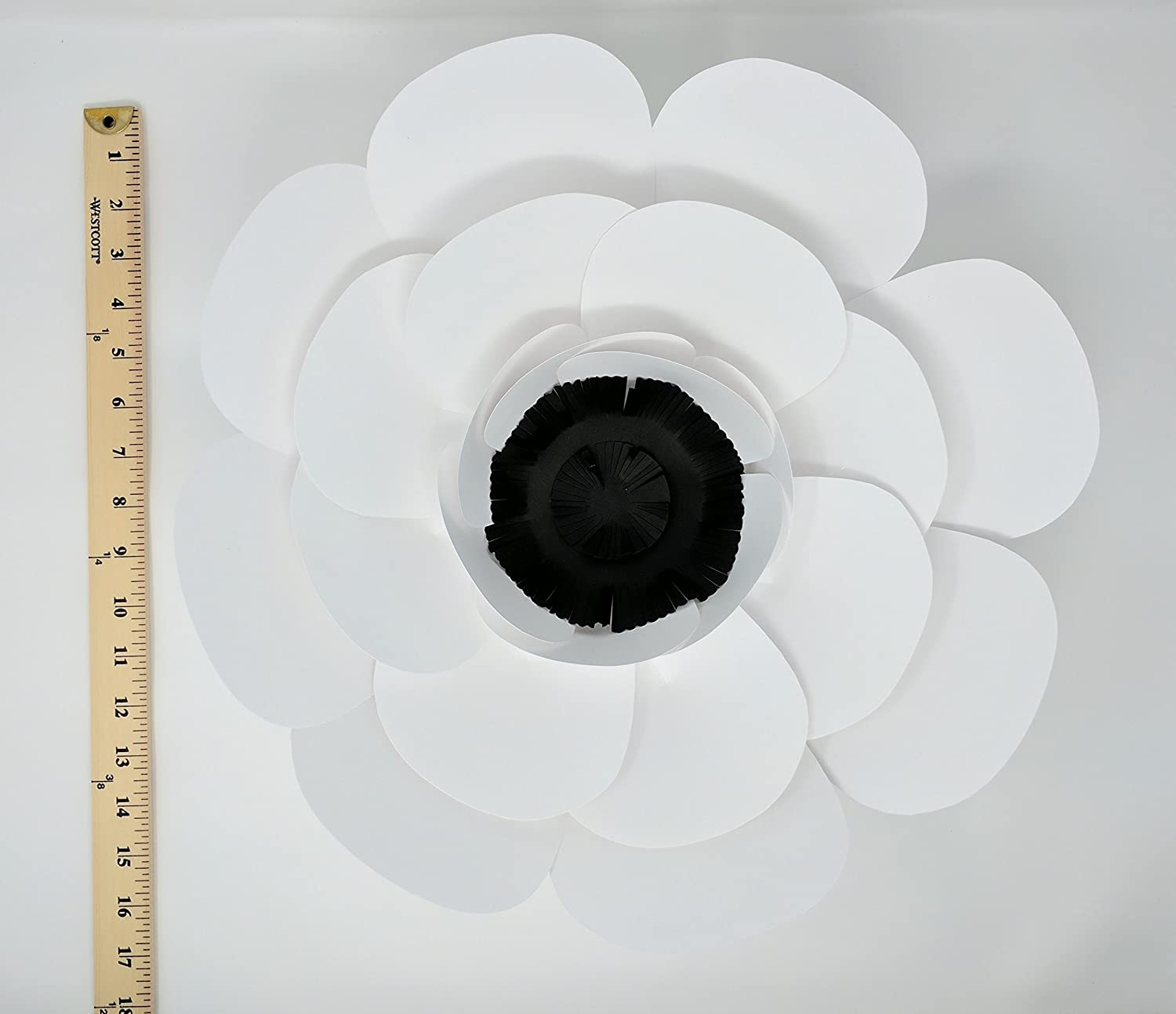 Multiple Shape of Flowers for Backdrops - includes 12 Paper Flowers and 12 Paper Leaves - Fully Assembled