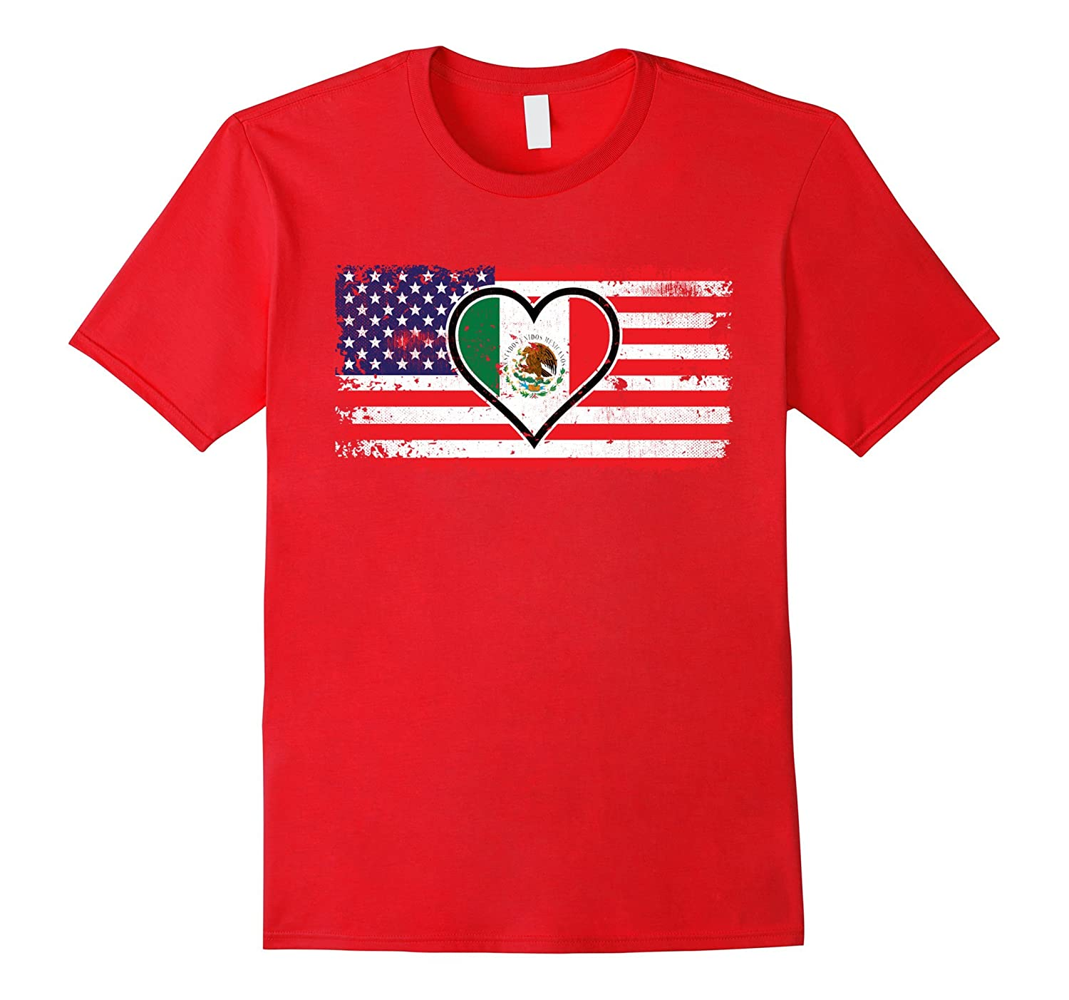 Amdesco American Flag with Mexican Heart Flag Shirt-Art