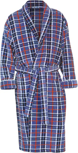 Bown Salcombe velour striped dressing gown