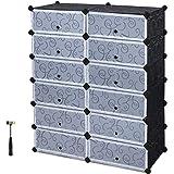 SONGMICS Shoe Rack, DIY Plastic Storage Organizer,Modular closet cabinet with Doors, Black ULPC26H