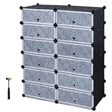 SONGMICS Shoe Rack, 12 Cube DIY Plastic Storage Drawer  Units,Multifunctional Modular Closet