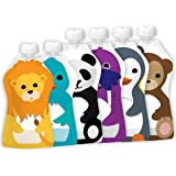 Squooshi Reusable Food Pouch - 2 Sizes - 4 Large 5 Ounce pouches + 2 Small 3.4 ounce pouches, Combo Pack 1