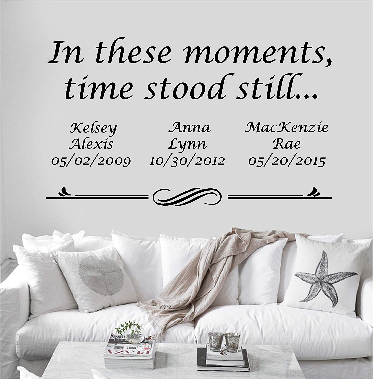 Personalized Custom In These Moments Time Stood Still Name Date Wall Decal Sticker Customized Choose Size Color Vinyl Home Family