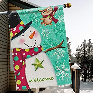 TGOOD Merry Christmas Garden Flag, Double Sided Home Decorative Nativity Xmas Rustic Winter Snowman Yard Sign Flag Banner, Vintage New Year Seasonal Outdoor Burlap Flag 28 x 40 Holiday