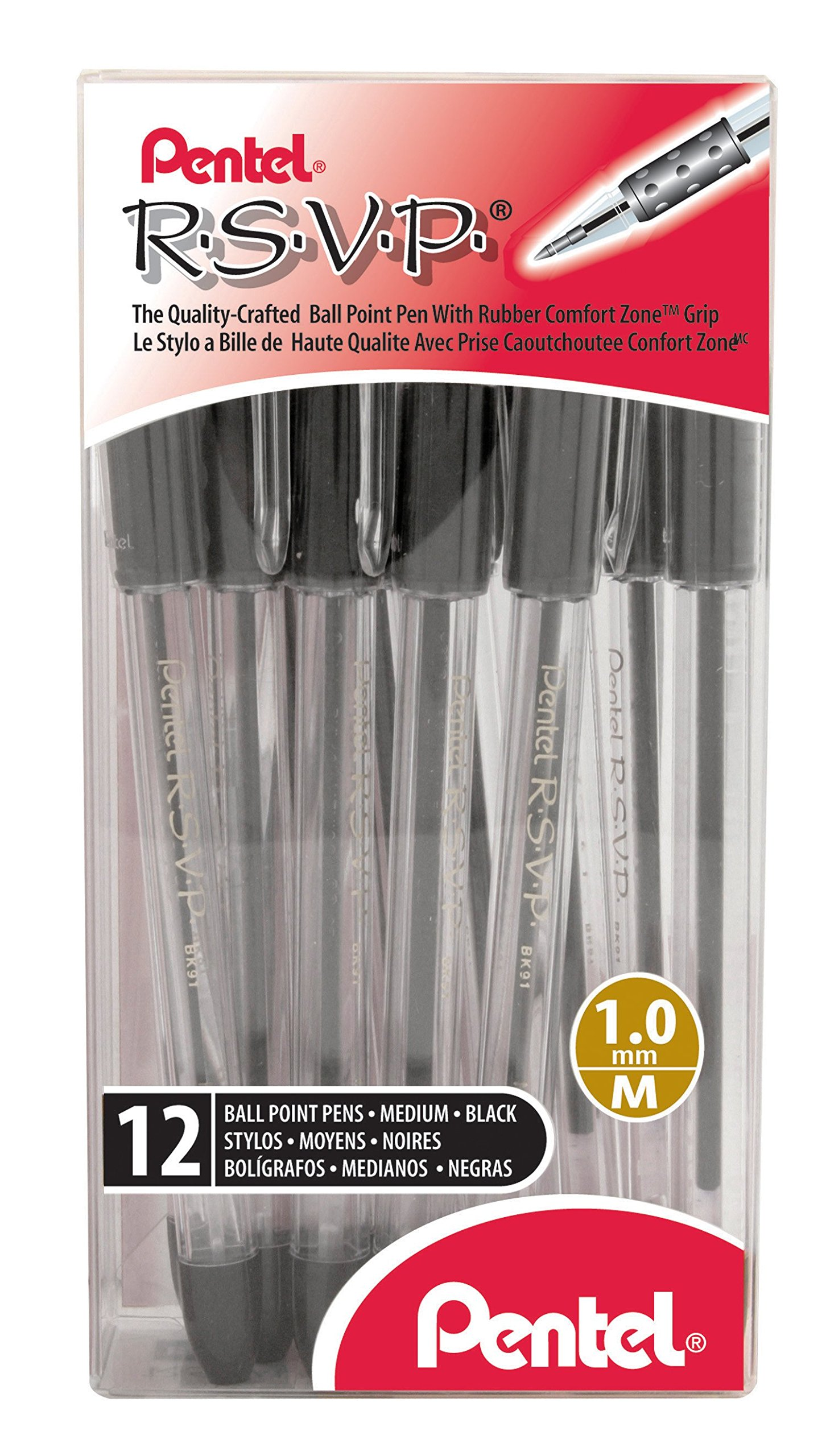 12 x Pentel R.S.V.P. Ball Point Pen, Medium Line, Black Ink