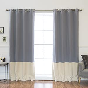 Best Home Fashion Colorblock Thermal Insulated Blackout Curtains - Antique Bronze Grommet Top - Grey/Beige - 52