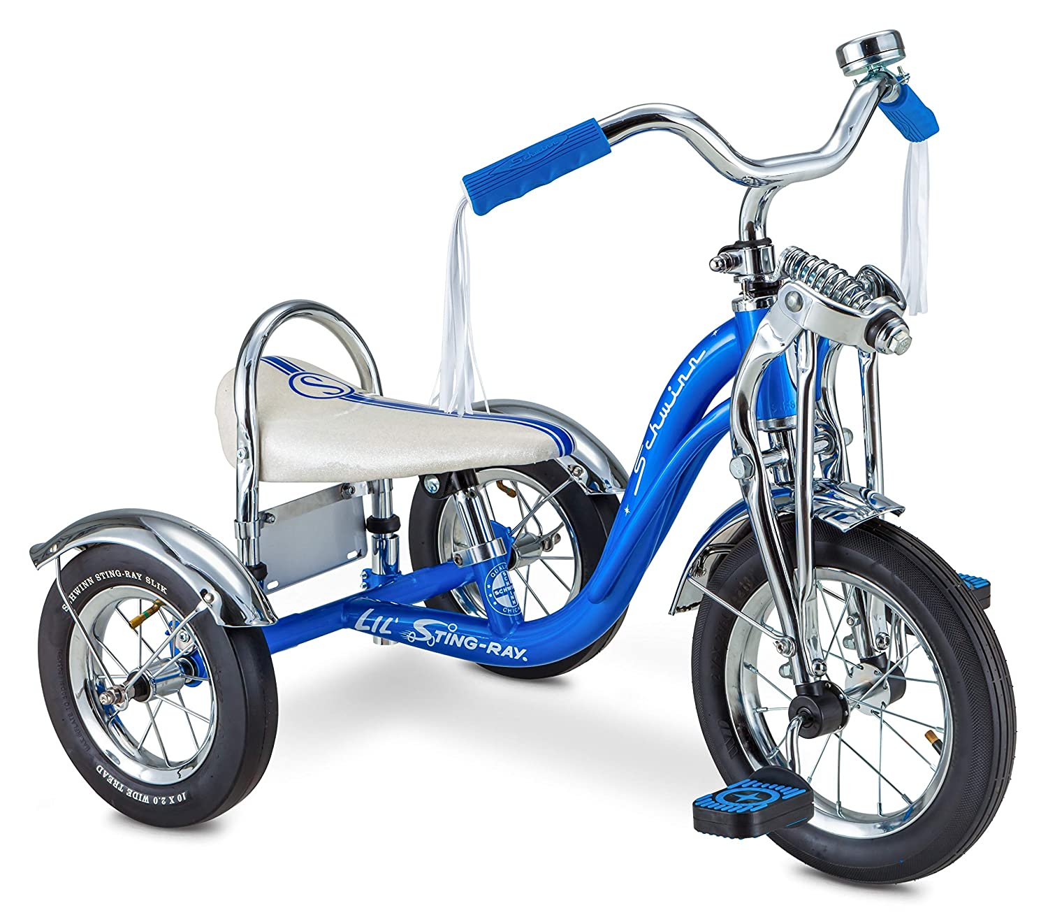 12 Front Wheel Blue Schwinn Lil Sting-Ray Super Deluxe Tricycle for Kids 2-4 Years Old
