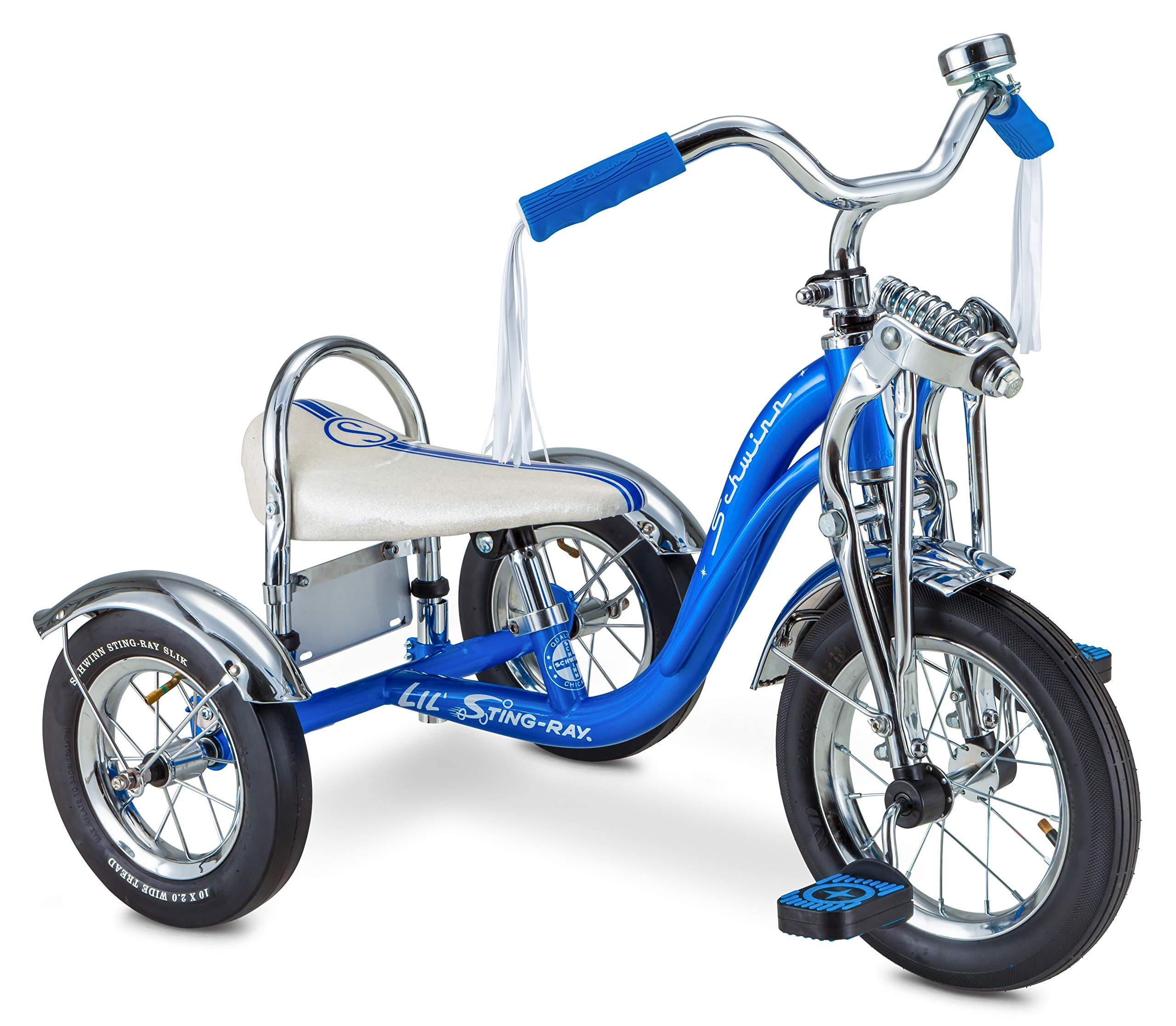 Schwinn Lil' Sting-Ray Super Deluxe Tricycle for Kids 2-4 Years Old, 12'' Front Wheel, Blue