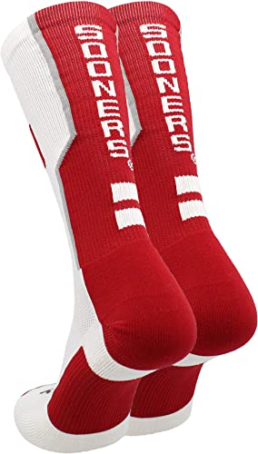 TCK Oklahoma Sooners Socks Basic Crew White Socks