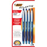 BIC Atlantis Original Retractable Ballpoint Pen Medium Point (1.0 mm) - Blue, Pack of 4 Pens
