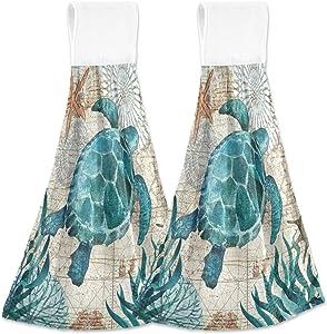 Boccsty Sea Turtle Starfish Hanging Kitchen Towels 2 Pieces Tortoise Map Ocean Animal Dish Cloth Tie Towels Hand Towel Tea Bar Towels for Bathroom Farmhous Housewarming Tabletop Home Decor