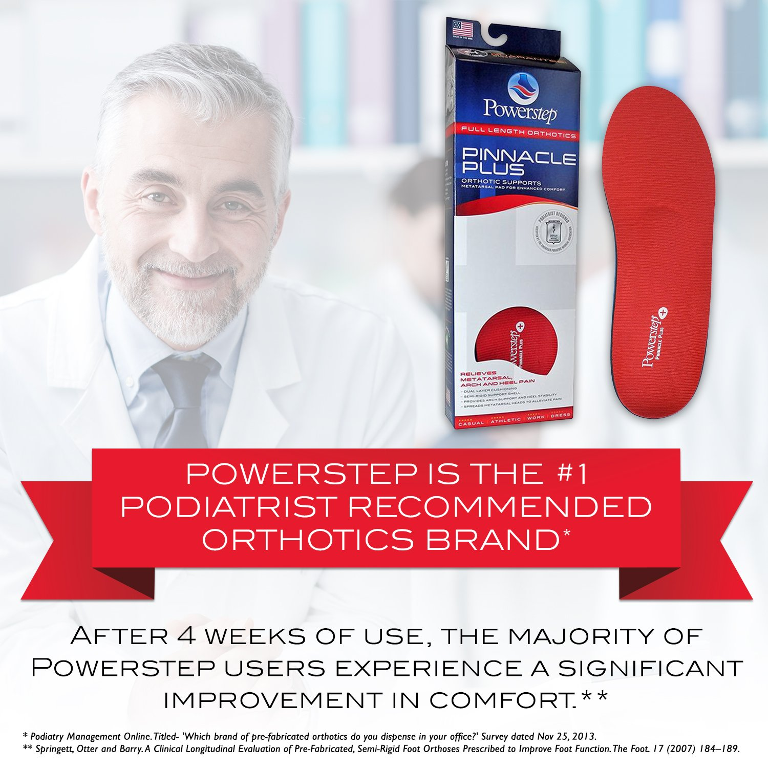 Powerstep Unisex Pinnacle Plus Red Insole by Powerstep