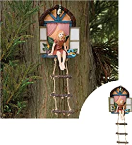 Fairy House with Ladder Hanging Tree Sculpture,Outdoor Tree Statue,Fairy Tree Hugger Garden Decor,Whimsical Hand Painted Polyresin Garden Decoration