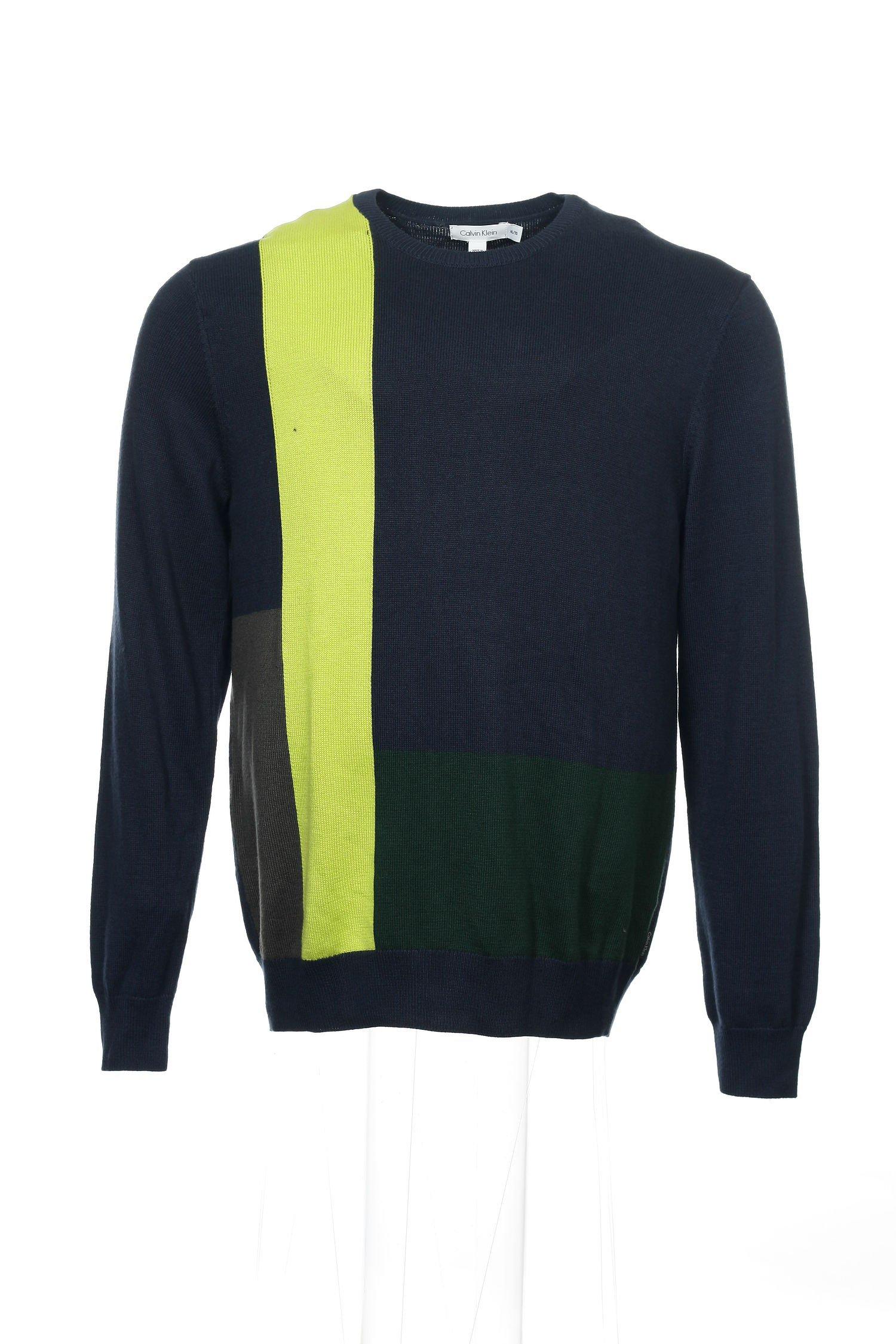 Calvin Klein Men's Color Blocked Sweater, Cadet Blue, Large