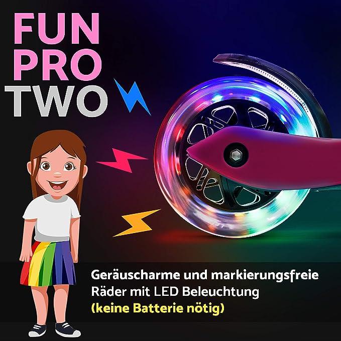 fun pro Two Patinete - El Patinete Seguro Premium para niños, con LED en Las Ruedas, Plegable, a Partir de 5 años, hasta 80 KG de Carga, Certificado ...