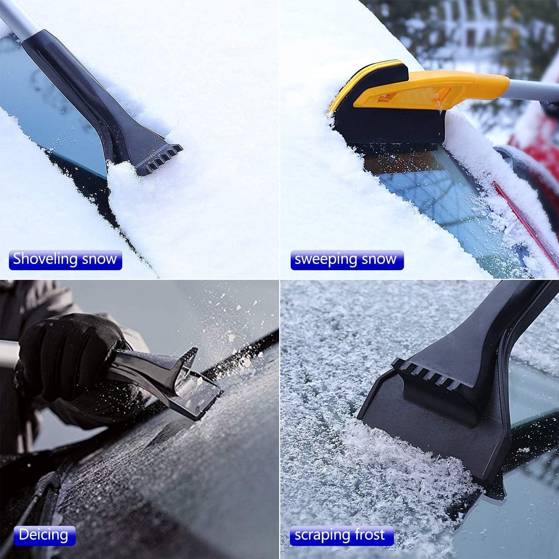 Feigo Auto Eiskratzer Eisschaber Schneeschaufeln Abnehmbar Schneebürste 2 In 1 Schneebesen Lang Autokratzer Für Autos Windschutzscheibe Frontscheiben Heckscheiben Seitenfenstern Auto