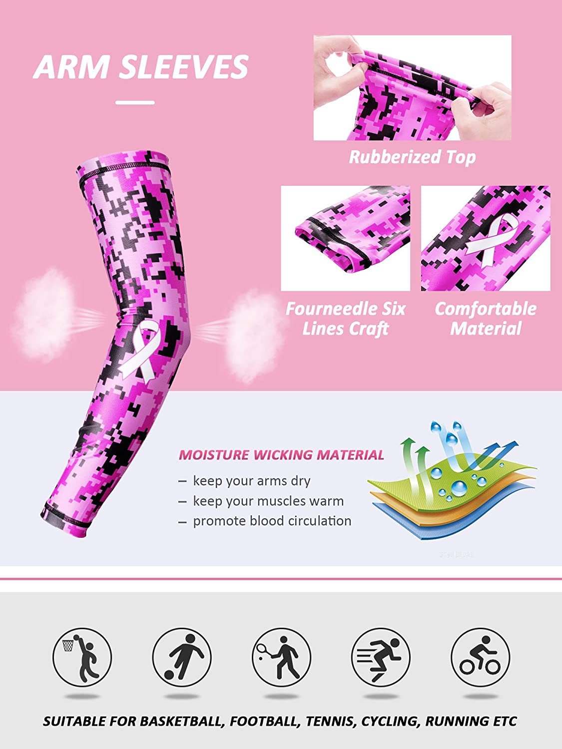 Gejoy 4 Pieces Breast Cancer Awareness Accessories Includes Pink Ribbon Arm Sleeves Headband Wristband for Running Yoga Gym Tennis
