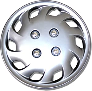 Tuningpros WC1P-14-8501-S - Pack of 1 Hubcap (1 Piece) - 14-Inches Style Snap-On (Pop-On) Type Metallic Silver Wheel Covers Hub-caps