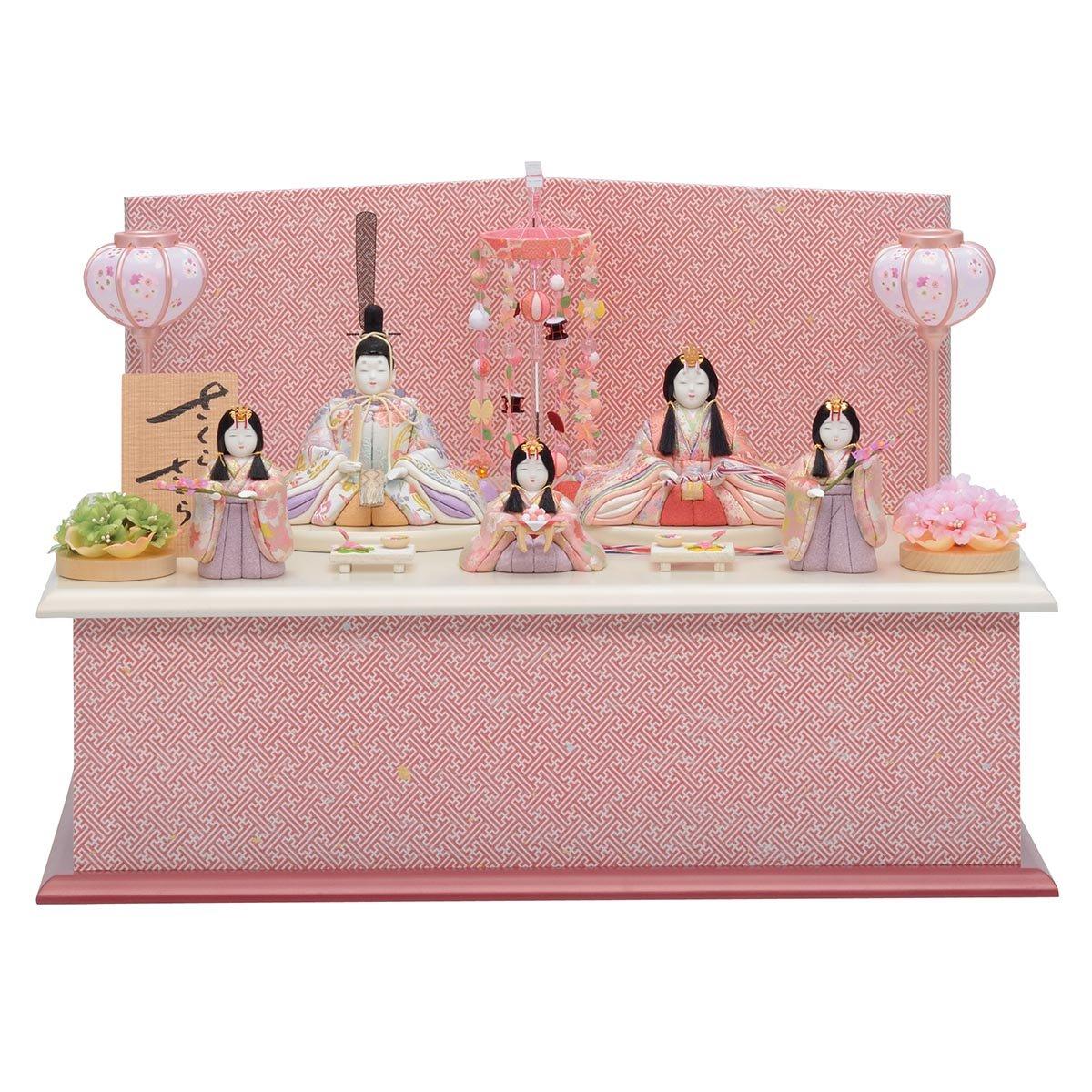 雛人形 一秀 さくらさくら 五人飾り 20-1号 桐収納飾り HNIS-C-117 木目込み ひな人形 コンパクト   B078K5J43M