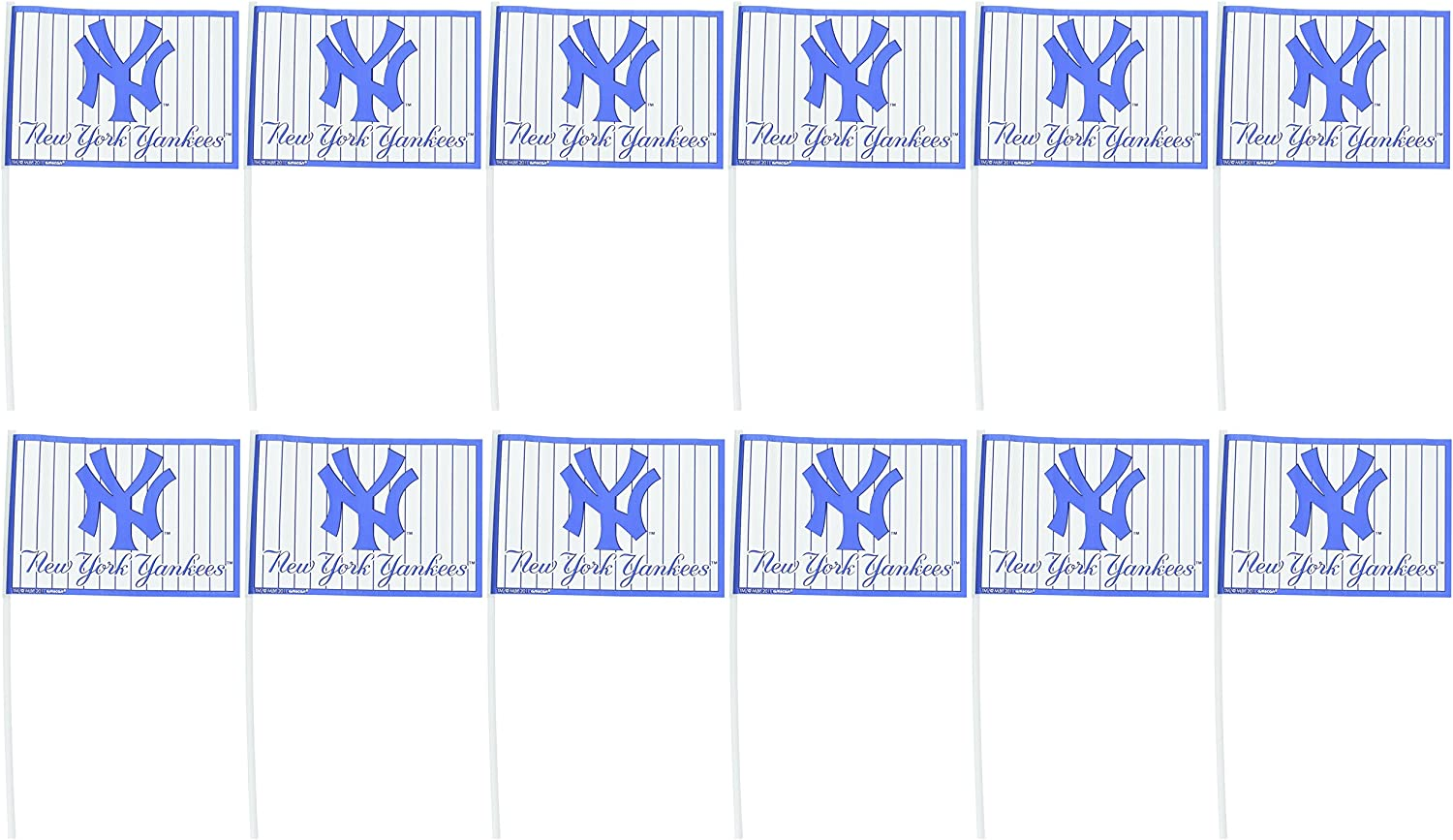 Amscan 394872 New York Yankees Major League Baseball Collection Plastic Flags 625 x 4 12 Pcs