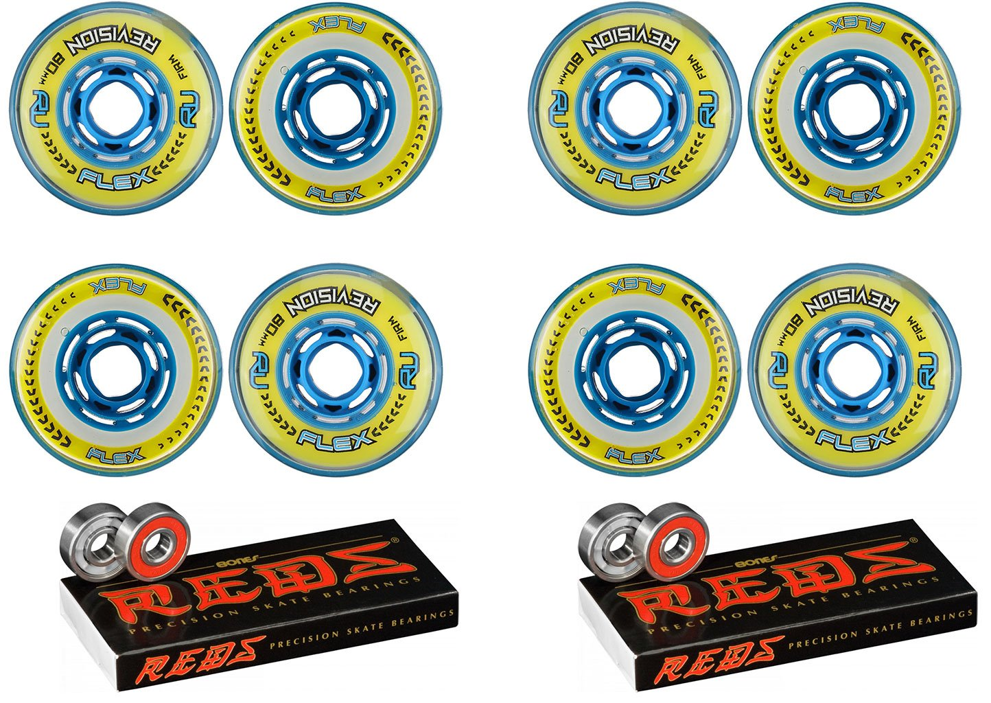 Revision Wheels Inline Roller Hockey Flex Firm Blu 80mm 8-Pack w/Bones Bearings