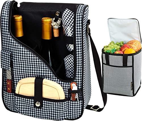 Picnic at Ascot Original Wine and Cheese Tote for 2 with Matching Cooler – Designed Assembled in California – Houndstooth