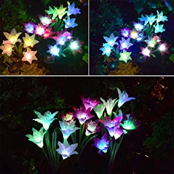 USBT-LILY-PW Landscape Lighting 2 Pack Lily, Purple and White Upgraded Garden Pathway Lights Outdoor Waterproof with 8 LED for Driveway TONBUX Solar Ground Lights Deck Garden