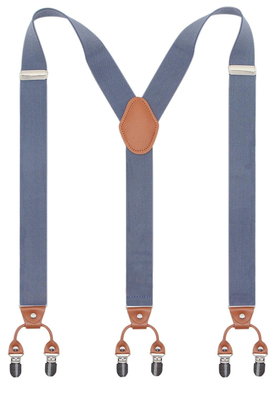 Bioterti Men's Y-Shaped Heavy Duty Suspenders – 6 Metal Clips, Elastic Straps Elastic Straps (Navy) JEKSS-3