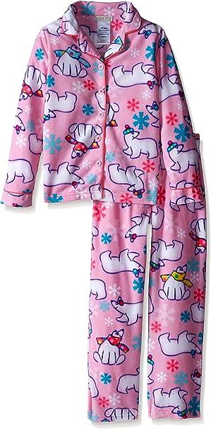 Komar Kids Girls Big Button Down Velour Fleece Pajama Set