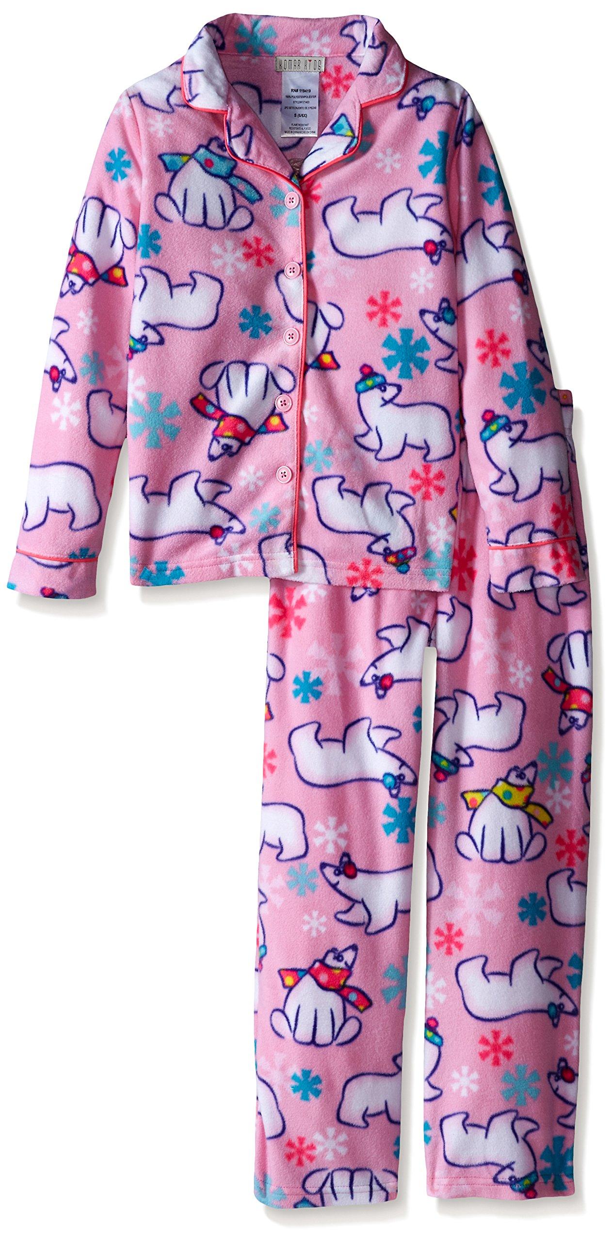 Komar Kids Big Girls' Micro Fleece 2 Piece Polar Bear Coat Set, Pink, X-Small