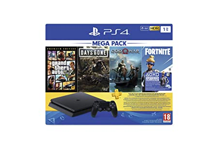 PS4 1TB Slim console (Games Included : Grand theft Auto V /Days Gone/God of War/Fortnight Voucher /PSN 3 Month Inside the Box
